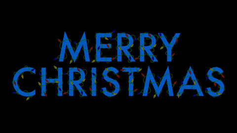 Merry Christmas Lights (Blue) Stock Video Footage