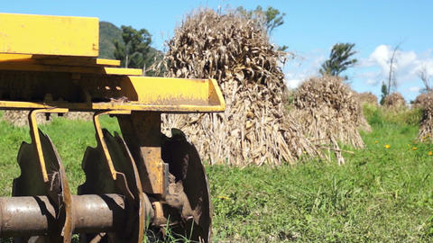 Disc Harrow Corn Piles Dolly Stock Video Footage