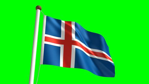 Iceland flag Stock Video Footage
