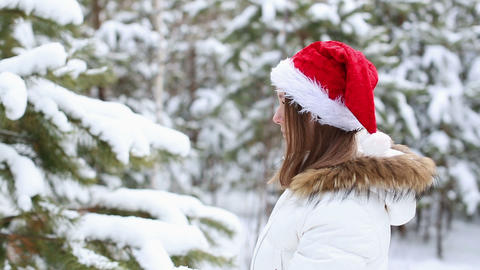 Sad Woman in a Cap of Santa Claus Stock Video Footage