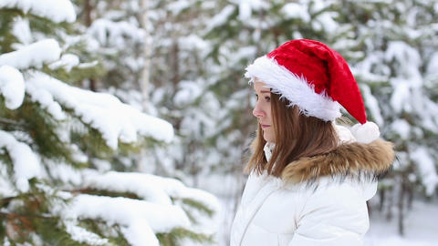 Sad Woman In A Cap Of Santa Claus stock footage