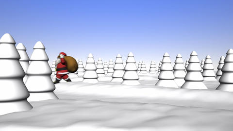 Santa Claus walks through the forest Animation