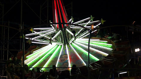 Fair Ride Spinning Top Fast Stock Video Footage