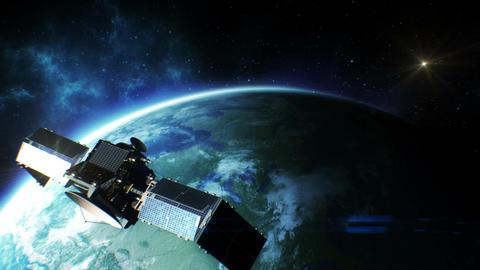 Beautiful view of Satellite Orbiting the Earth. HD Stock Video Footage