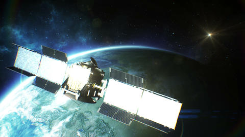 Beautiful view of Satellite Orbiting the Earth. HD Animation