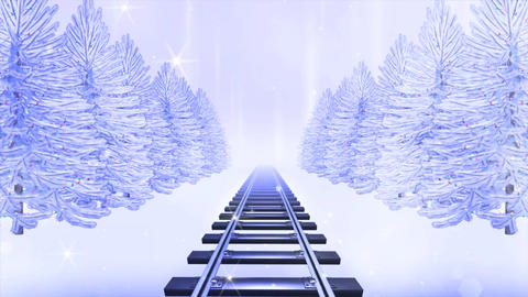 Magic Winter Railroad Loop Stock Video Footage