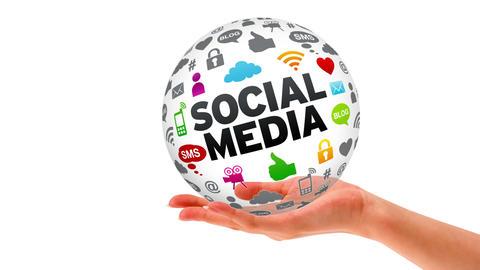 Hand Sphere social Media Stock Video Footage