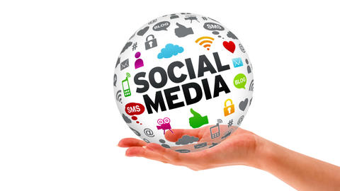 Hand Sphere Social Media stock footage