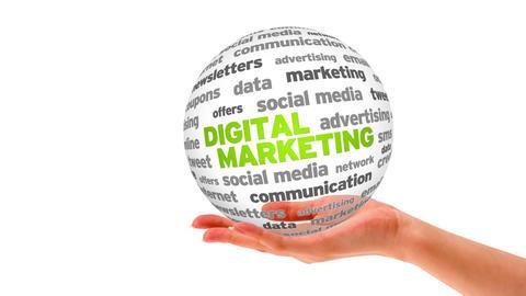 Digital Marketing Word Sphere Stock Video Footage