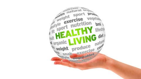 Healthy Living Word Sphere Stock Video Footage