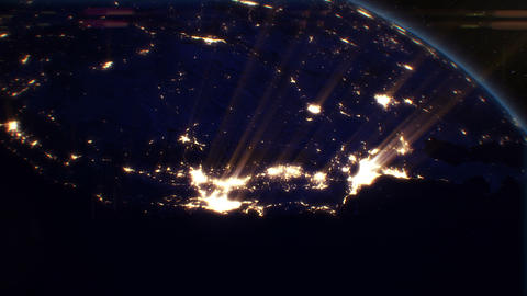 Night Cities from the Satellite. USA. NASA Photo. Stock Video Footage