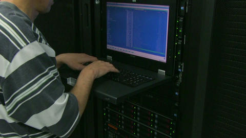 Man working in server room Footage