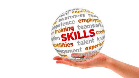 Skills Word Sphere Stock Video Footage