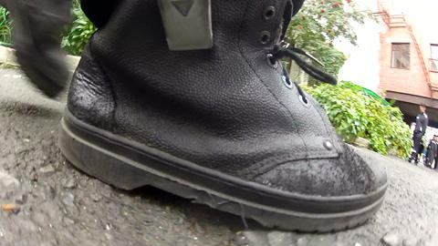 Black rough fabric shoes Footage