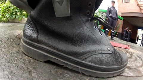 Black rough fabric shoes Stock Video Footage