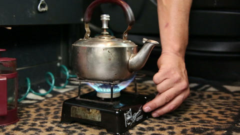 The kettle on the gas burner Stock Video Footage