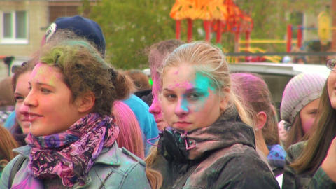 The faces of the people in the colored paints Footage