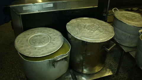 A big Pot of soup in the kitchen Stock Video Footage