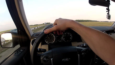 Travel on highway along the field Stock Video Footage
