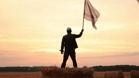 Man waving a flag Stock Video Footage