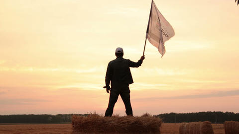 Man waving a flag Footage