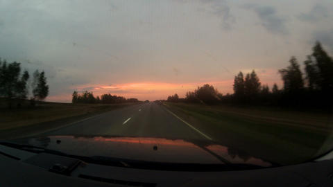 Travel on the highway at sunset Stock Video Footage