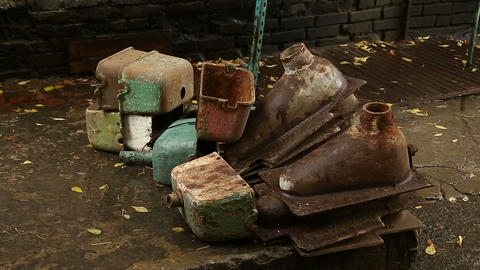 Rusty old toilets and the toilets Stock Video Footage