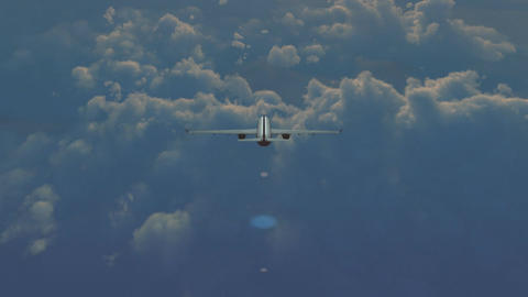 Aircraft above the clouds 2 Animation