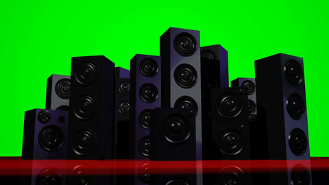 Loudspeakers Green Screen Animation