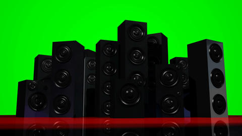 Loudspeakers Green Screen Stock Video Footage