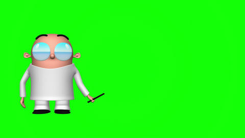 Funny Scientist (Green Screen) Animation