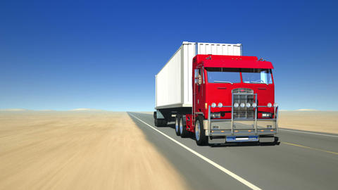 Truck on the road 1 (Loop) Stock Video Footage