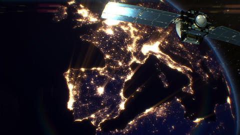 Satellite over Night Cities. Europe. HD 1080 Animation