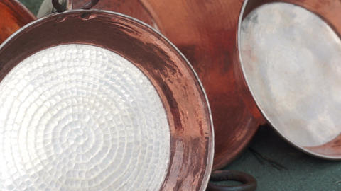 Shiny Copper Pots Dolly Stock Video Footage