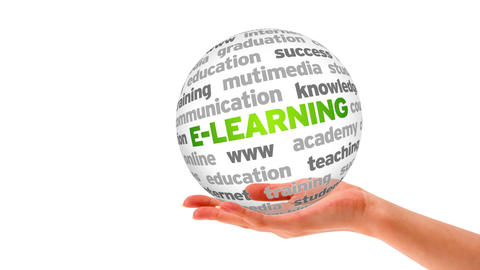 E- Learning Word Sphere Stock Video Footage