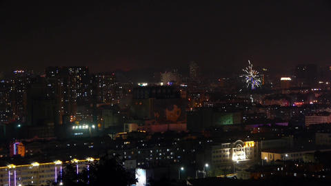 night urban scenes & night neon,fieworks Stock Video Footage