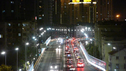 Many cars on overpass,traffic jam at night Animation