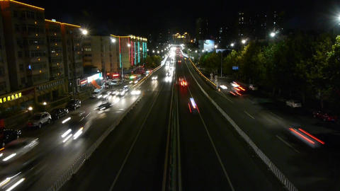 timelapse urban traffic at night Stock Video Footage