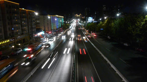 timelapse urban traffic at night Animation