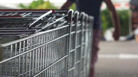 Pulling Out Shopping Cart Stock Video Footage