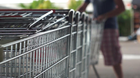 Pulling Out Shopping Cart stock footage