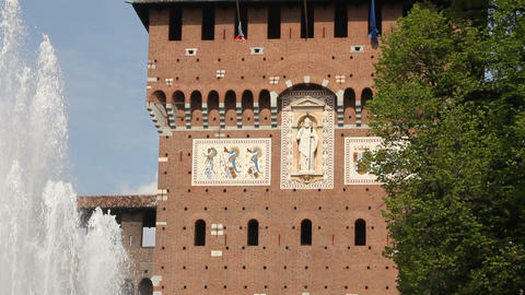 Main entrance of Castello Sforzesco in Milan Stock Video Footage