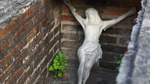 Jesus Statue in a Tomb Dolly Footage
