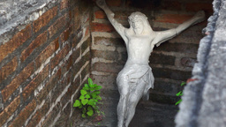 Jesus Statue in a Tomb Dolly Stock Video Footage