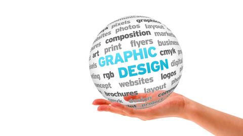Graphic Design 3D Word Sphere stock footage
