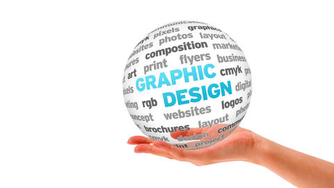 Graphic Design 3D word Sphere Stock Video Footage
