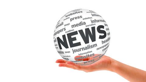 News Word Sphere Stock Video Footage