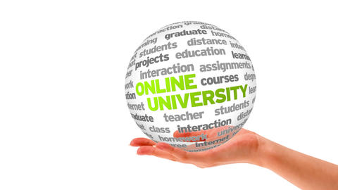 Online University Word Sphere Stock Video Footage