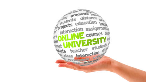 Online University Word Sphere Animation