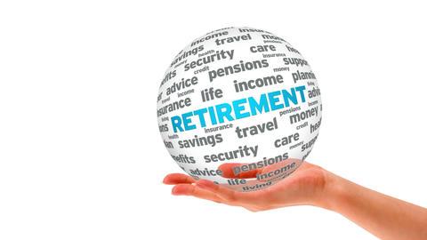 Retirement word sphere Stock Video Footage